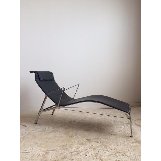 Sculptural Modern Black Leather Chaise - Image 2 of 4