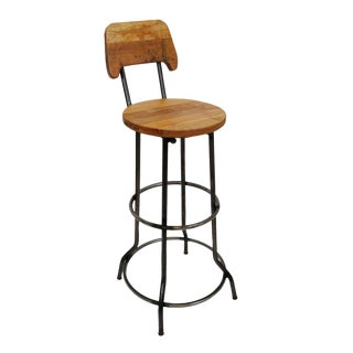Teak & Iron Bar Stool For Sale