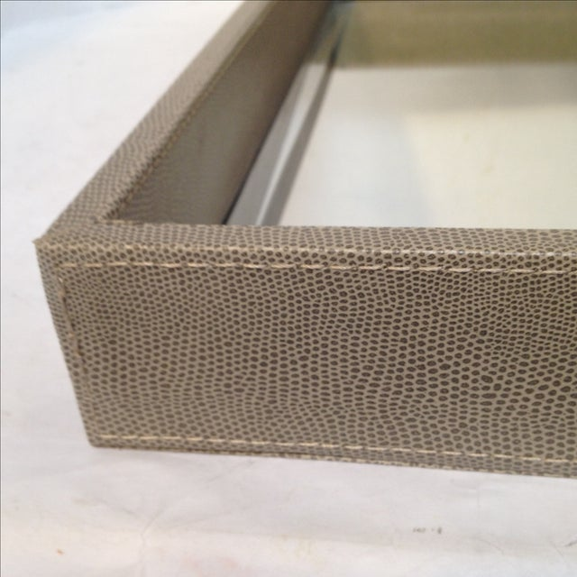 Large Shagreen-Texture Mirrored Tray - Image 4 of 7