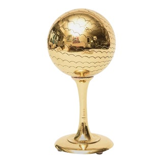 Polished Brass Globe Style Sculpture/Object/ Desk Accessory For Sale