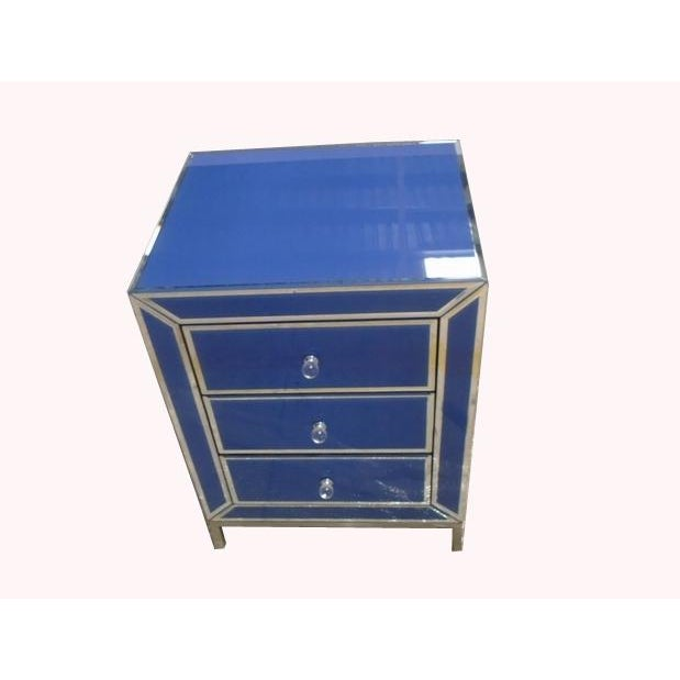 Contemporary Blue Bedside End Table - Image 3 of 7