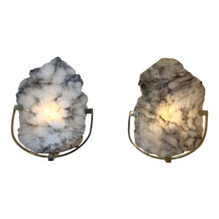 Contemporary Pair of Alabaster and Brass Sconces. Italy For Sale