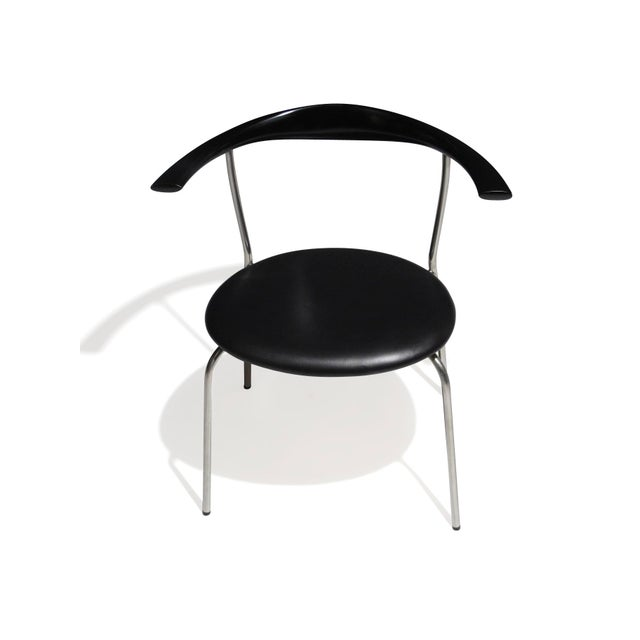 Set of 4 Hans Wegner PP701 Bull Horn Dining Chairs in Black Lacquer, Leather and Steel For Sale In San Francisco - Image 6 of 13