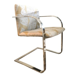 Brueton Cantilevered Chrome Desk Chair With Woven Tropical Print, C. 1970s For Sale