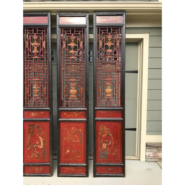 Red Qing Dynasty Chinese Lacquer Painted Folding Exterior Doors - Set of 4 For Sale - Image 8 of 11