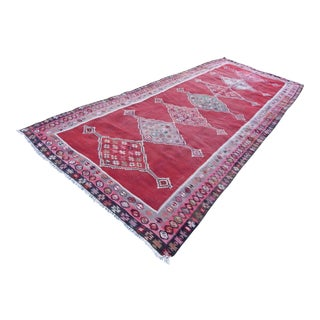 Vintage Multi Color Entryway Kilim, Muted Pastel Colors Authentic Handmade Wool Carpet, Long and Large Kelim 5'8'' X 13'2'' / 173 X 401cm For Sale