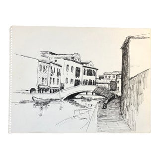 Venetian Drawing by Hayward Cirker For Sale