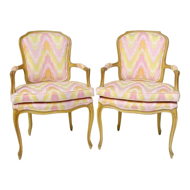 Pair of 1940s Louis XV Style Fauteuils in Colorful New Flamestitch Upholstery For Sale