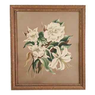 Circa 1940's Floral Print by Turner With Unqiue Wood Frame For Sale