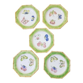 Hand Painted Italian Butterfly Plates - Set of 5