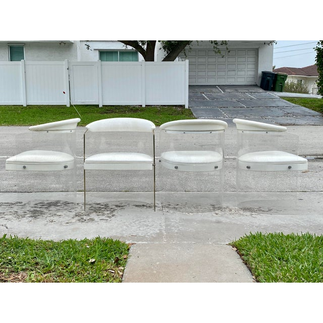 Lucite Barrel Back Chairs - Set of 4 For Sale - Image 12 of 13