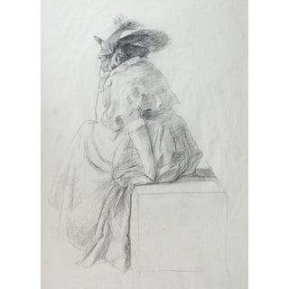 19th Century Woman in Bonnet Drawing For Sale