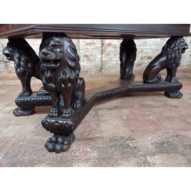 Brown 19th Century Library Table W/ 4 Carved Lions For Sale - Image 8 of 10