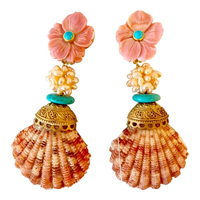 Pink Scallop Shell Earrings For Sale