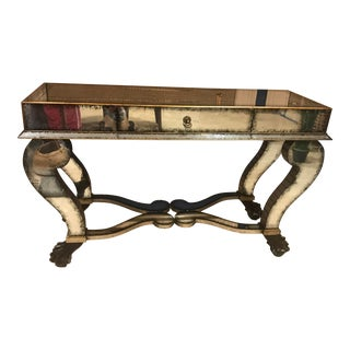 Antiqued Mirrored Lion Claw Console Table For Sale