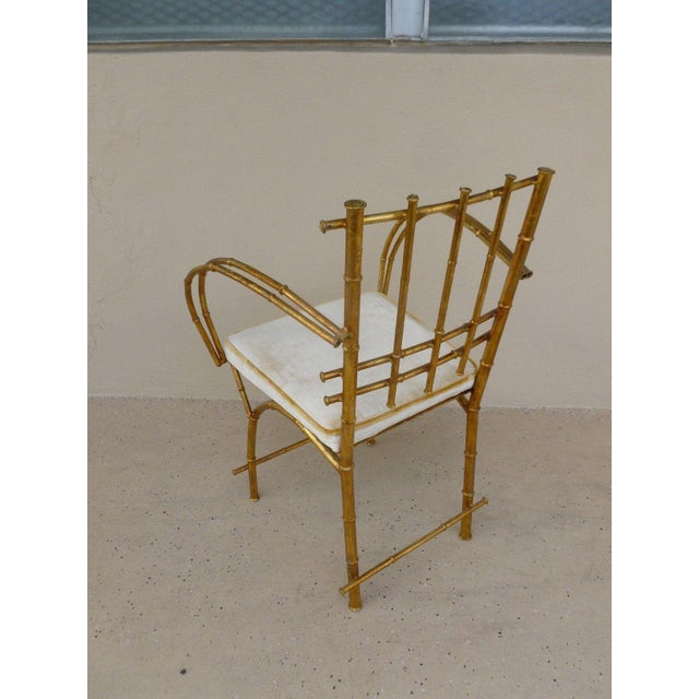 1960s Vintage Italian Hollywood Regency Style Faux Bamboo Armchair For Sale - Image 4 of 5