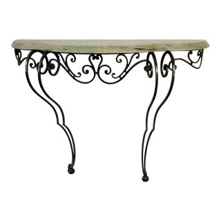Wrought Iron & Marble Two Legged Console Table