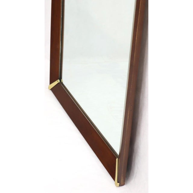 Wood Mid-Century Modern Walnut Frame With Brass Diamond Accents Wall Mirror For Sale - Image 7 of 8