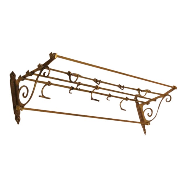 Antique Coat and Hat Brass Wall Rack - Image 1 of 2