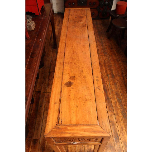 Wood Chinese, 19th Century, Natural Elm Antique Console Table with Carved Decor For Sale - Image 7 of 11
