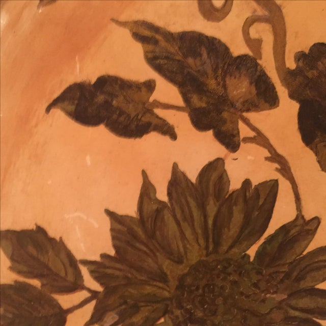 Antique Etched Cream & Gold Tole Tray - Image 6 of 7