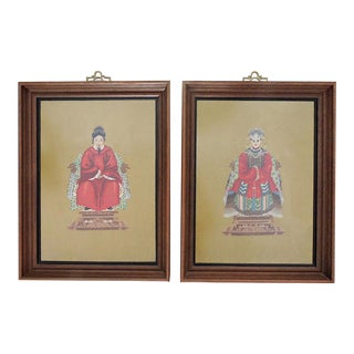 Vintage Chinese Framed Ancestor or Nobles Needlepoint Embroidered Wall Hangings - a Pair For Sale