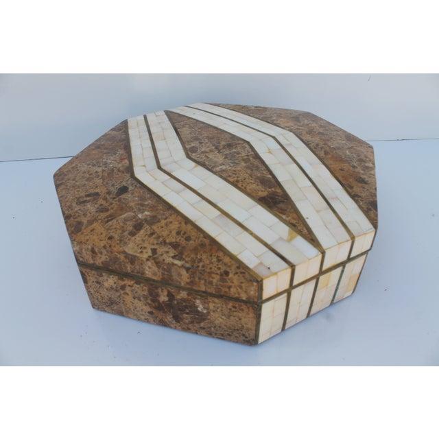 Maitland-Smith Octagonal Stone & Bone Box - Image 2 of 8