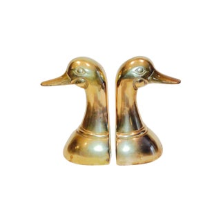Brass Mallard Duck Bookends - A Pair For Sale