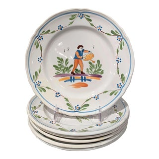 French Hand Painted Ceramic Plates From Brittany-Set of Six For Sale