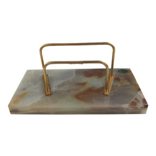 Vintage Italian Onyx and Brass Letter Holder For Sale