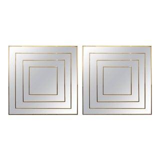 Mid-Century Modern Square Geometric Mirrors - A Pair