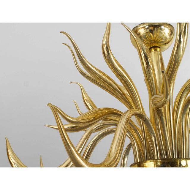 Italian Post-War Design Italian Venetian Murano Modern Gilt Glass Chandelier For Sale - Image 3 of 4