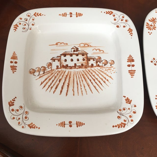 Pair decorative hanging platters/plates from vietri. Rustic. Ready to be hung.