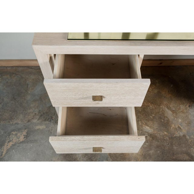 Modern Desk in Bleached Oak with Brass - Image 5 of 9