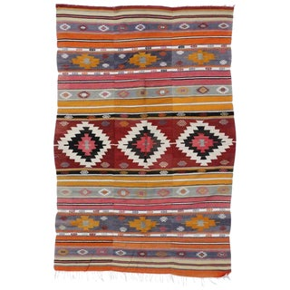 "20th Century Boho Chic Turkish Kilim Rug - 5'6"" X 8'2"" For Sale"