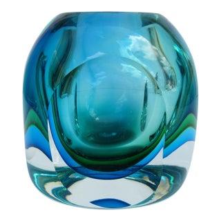 Vintage 1970's MCM Italian Original Alessandro Mandruzzato Hand-Blown Murano Sommerso Faceted Decorative Bowl For Sale