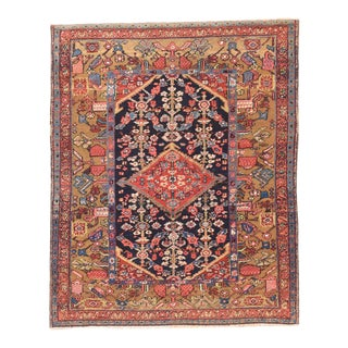 Antique Hand Made Heriz Persian Rug- 4′6″ × 5′4″ For Sale