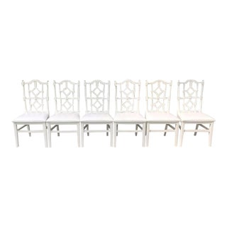 1970s Lacquered White Fretwork Dining Chairs - Set of 6 For Sale