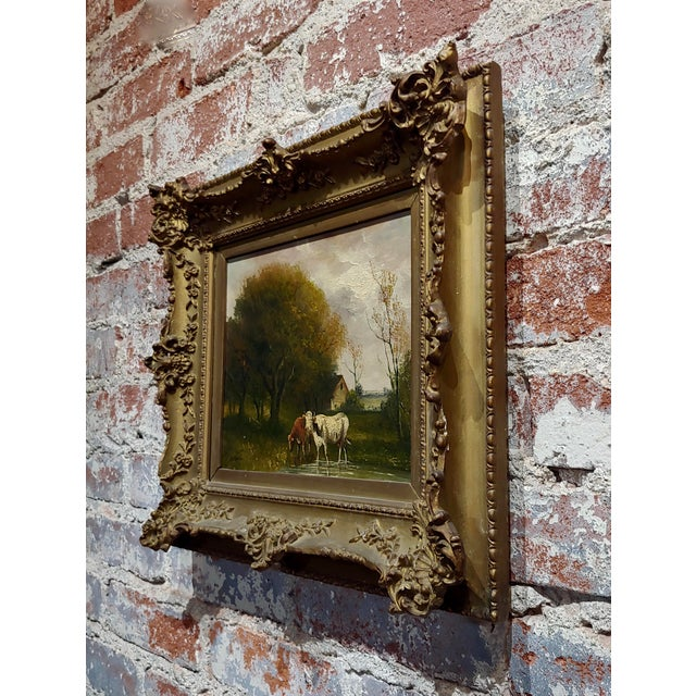 Brown Jaques Durant -Landscape W/ Cows-Impressionist Oil Painting-C1860s For Sale - Image 8 of 10