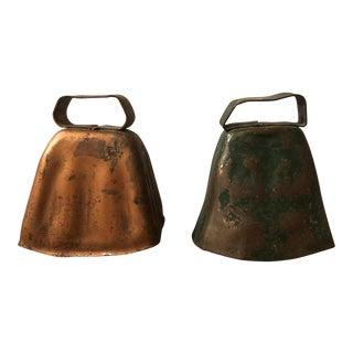 Antique Copper Finish Cow Bells - a Pair For Sale