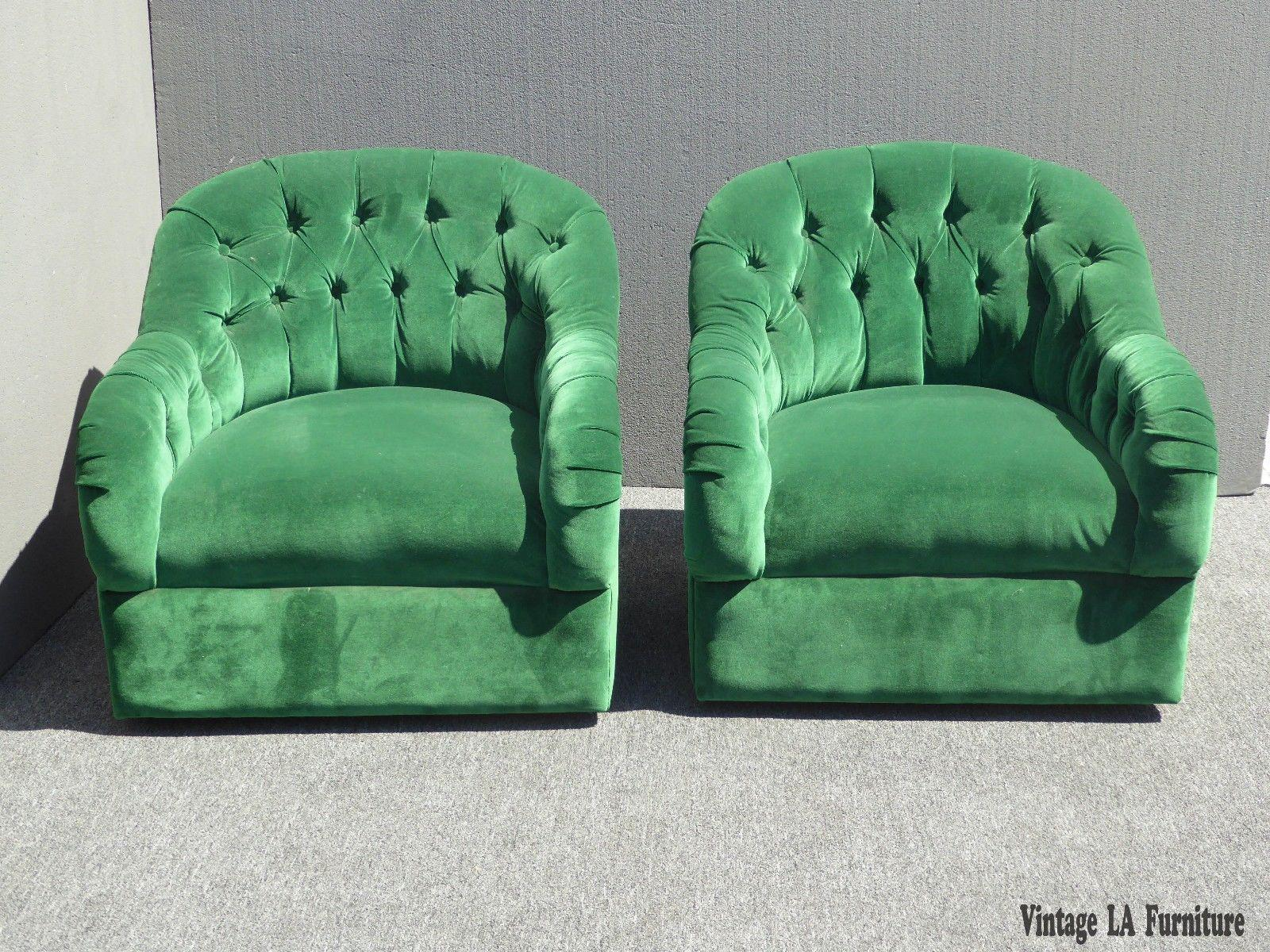 Vintage Pair Of Mid Century Modern Tufted Green Velvet Swivel Club Chairs    Image 2 Of