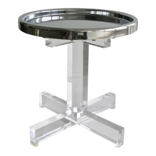 Lucite Side Table & Chrome Tray Top For Sale