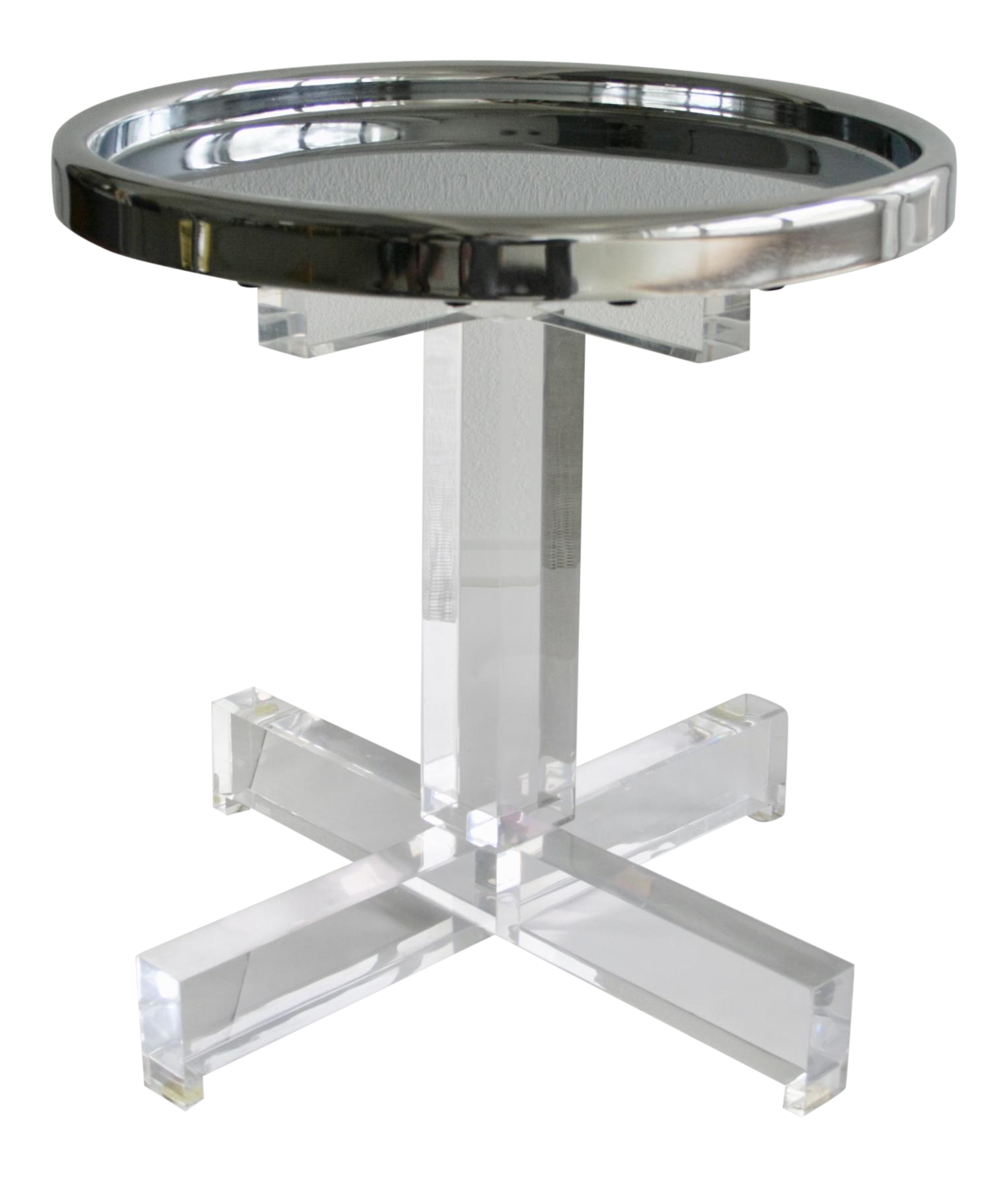 Lucite Side Table U0026 Chrome Tray Top For Sale