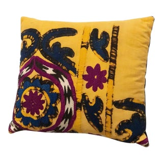 Vintage Boho Chic Suzani Lumbar Pillow For Sale