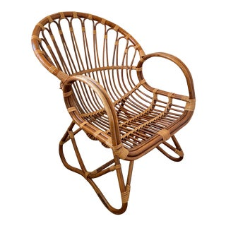 Vintage Boho Franco Albini Style Bamboo and Rattan Chair For Sale