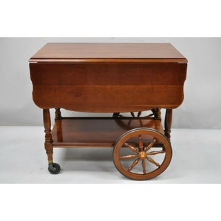 Vintage Monitor Solid Cherry Wood Colonial Style Rolling Bar Tea Cart Server Preview