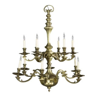 French Twelve-Armed Bronze Chandelier