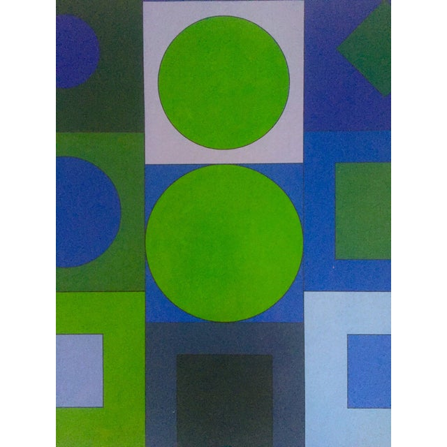"Victor Vasarely Vintage Op Art Modernist Geometric Lithograph Print "" Alphabet v.b. "" 1960 For Sale - Image 9 of 13"
