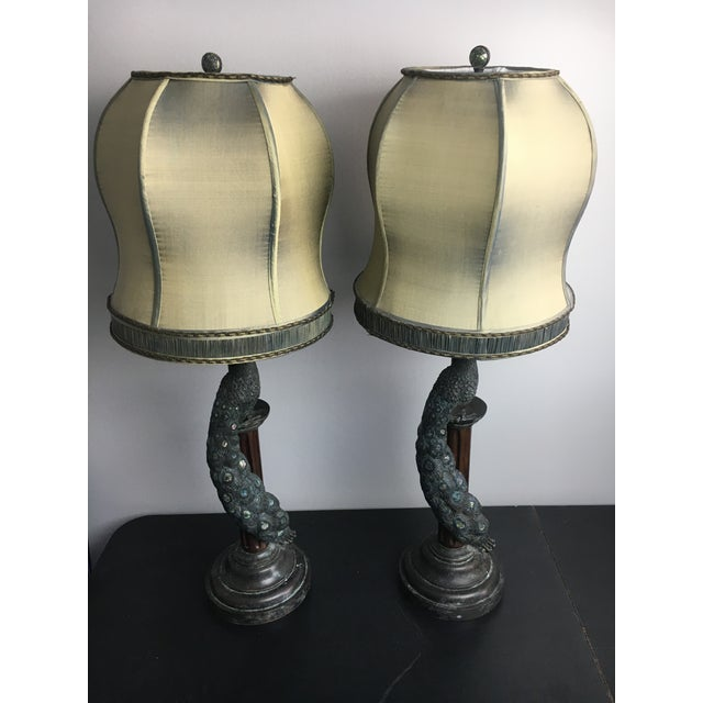 Maitland-Smith Peacock Table Lamps - a Pair - Image 4 of 7
