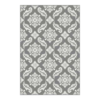 TRANSITIONAL FLORAL GRAY RUG 8x 10'7''